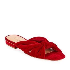 Halston Heritage Ginny Velvet Sandals Red cherry